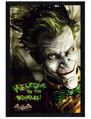 Batman Arkham Asylum The Black Wooden Framed Welcome to the Madhouse Poster