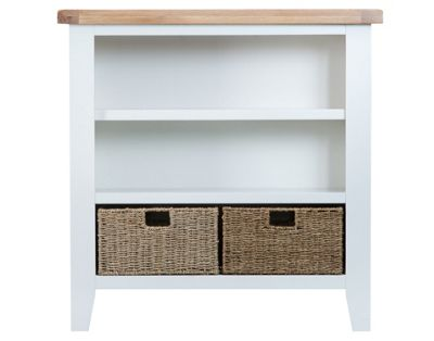 Liverpool Painted Oak Small Bookcase with Baskets / Cream Bookshelf