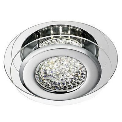 VESTA LED CEILING FLUSH, CHROME, CLEAR CRYSTAL CENTRE DECO