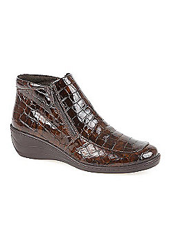 Fly Flot Croc Effect Ankle Boot Brown Croc - 10 - Brown