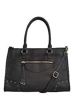 F&F Grained Zip Front Tote Bag
