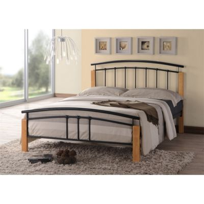 Black Metal & Beech Bed Frame - King Size 5ft