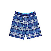 F&F Checked Mid Length Swim Shorts - Blue