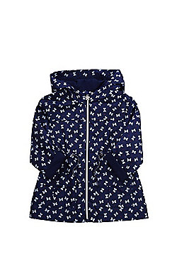 F&F Bow Print Shower Resistant Hooded Mac - Navy