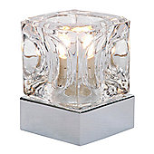 Modern Glass Ice Cube Touch Dimmable Table Lamp with Polished Chrome Base