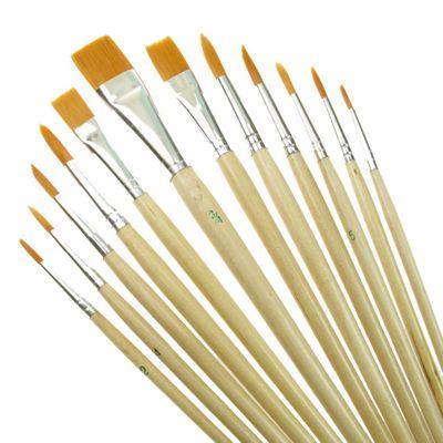 Value Brush Set Gold Taklon SH Assorted 12 Pack