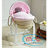 palm Moses Basket With Mattress, Cover and Rocking Stand (Pink)