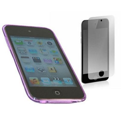 Purple ELITE Case & LCD Screen protector and Cleaning Cloth - Apple iPod Touch 4G