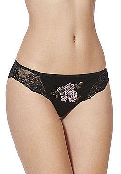 F&F Signature Maddie Floral Embroidery Brazilian Briefs - Black