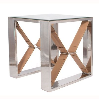 Tan Leather & Stainless Steel Glass Side Table