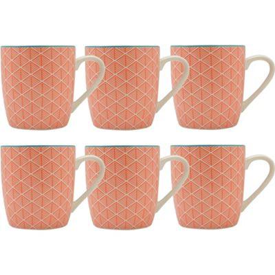 Coral Aztec Design Tea / Coffee Mug - 280ml (10oz) - Box of 6