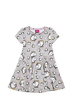 Disney Princess Beauty and the Beast Chip Jersey Dress - Grey