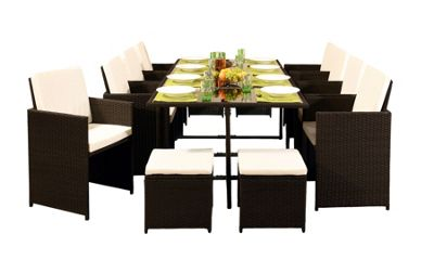 Comfy Living 12 Seater Rattan Outdoor Garden Furniture Set In Brown - 8 Chairs 4 Stools & Dining Table