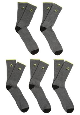 F&F Active 5 Pair Pack of Logo Sports Socks Grey Adult Shoe 6-8 1/2