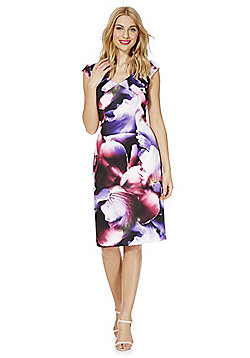 Roman Originals Floral Print Scuba Dress - Purple