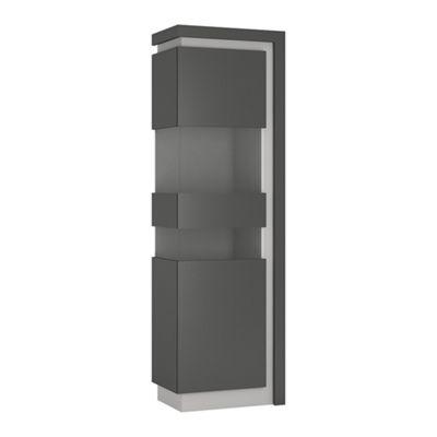 Lyon Tall narrow display cabinet (LHD) (including LED lighting) in Platinum/Light Grey Gloss