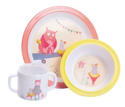 Children's Melamine Dinner Set - Pink Owl & Mouse | Baby Gifts