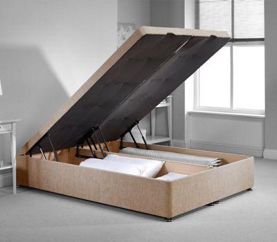 Richworth Ottoman Divan Bed Frame - Mink Chenille Fabric - Small Single - 2ft6