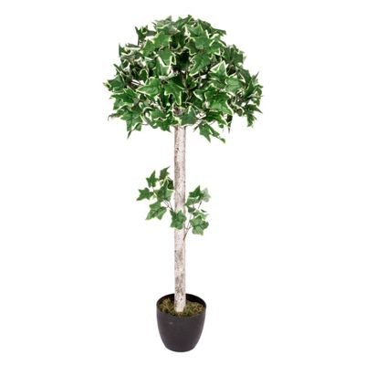 Homescapes Variegated Green 4 ft Ivy Ball Artificial Tree with Frosted Trunk