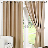 Dreamscene Eyelet Blackout Curtains PAIR of Thermal Ring Top Ready Made Luxury - Beige