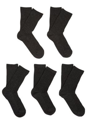 F&F 5 Pair Pack of Ribbed Socks Shoe Child 09-12 Grey