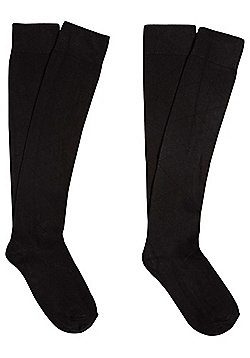 F&F 2 Pair Pack of Knee High Socks - Black