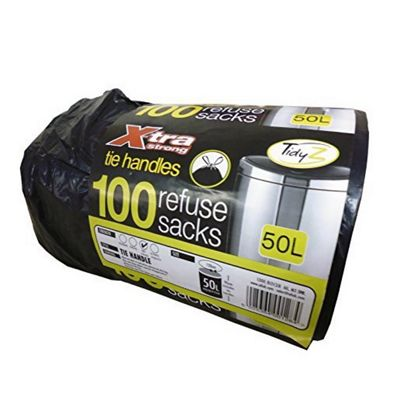 Roll of 100 X-Tra Extra Strong Tie Handle Black Refuse Sack Bin Liner Bags 50 L