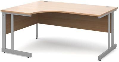 DSK Momento 1600mm Left Hand Ergonomic Desk - Beech
