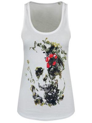Floral Skull Floaty White Women's Vest