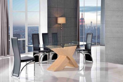 Valencia Glass & Oak 200 cm Dining Table with 6 Black Alisa Chairs