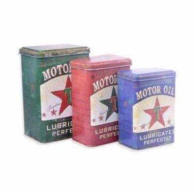 Set of Three Vintage Look Texaco Motor Oil Storage Tins