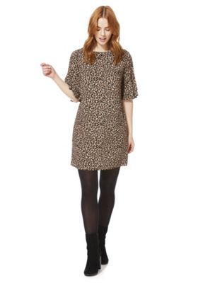 F&F Leopard Print Double Bell Sleeve Dress Brown 16