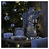 Large Pre Lit Silver Rattan Angel Christmas Room Decoration