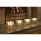 Auraglow Set of 4 Luxury Frosted Polished Glass LED Tea Light Candle Holders - Amersham