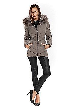 Wallis Belted Short Puffer Coat - Mink