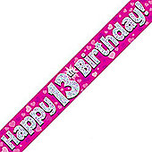 Oaktree Pink Holographic Happy 13th Birthday Banner - 9ft