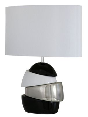 Black, Silver & White Ceramic Masonry Table Lamp with Pure White Shade