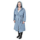 Homescapes Blue 100% Combed Egyptian Cotton Hooded Adults Bathrobe, XXL