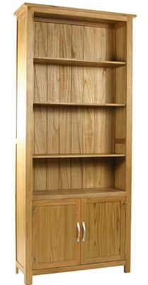 Kelburn Furniture Essentials Cupboard Bookcase in Light Oak Stain and Satin Lacquer