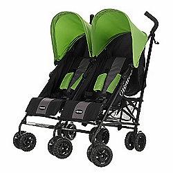 Obaby Apollo Black & Grey Twin Stroller - Lime