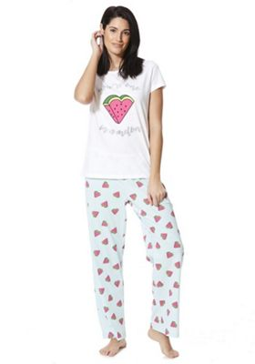 F&F You're One In A Melon Slogan Pyjamas White 6