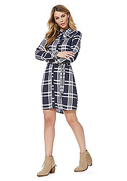 F&F Checked Frill Trim Dress - Navy & White