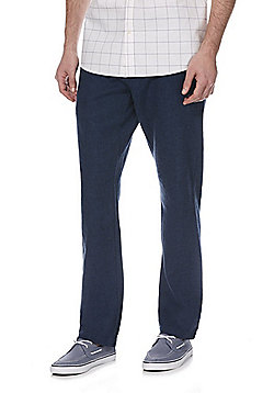 F&F Linen-Mix Straight Leg Trousers - Blue