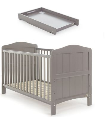 Obaby Whitby Cot Bed and Cot Top Changer - Taupe Grey