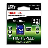 Toshiba 32GB MicroSDHC Card with SD Adapter
