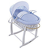 Blue Barley Print Moses Basket, White Wicker