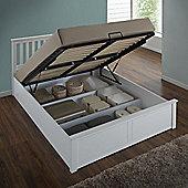 Happy Beds Phoenix White Wooden Ottoman Storage Bed Memory Foam Mattress 4ft6 Double