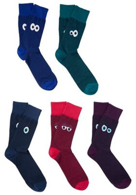 F&F 5 Pair Pack of Crazy Face Ankle Socks Multi Adult Shoe 6-8 1/2