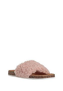 F&F Faux Shearling Sliders - Pink
