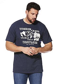 Jacamo Timber Yard Marl T-Shirt - Navy marl